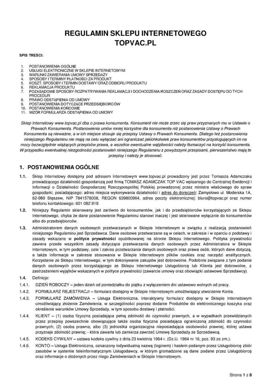 fe1dff49 Regulamin - TopVac Odkurzacze Centralne